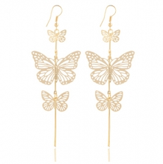 New Fashion Alloy Double bow Butterfly drop earrings jewellery Hollow flower Long tassels earring gold one size