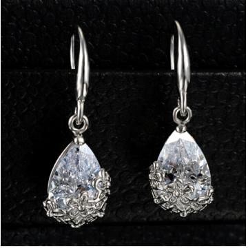 Classic Romantic Crystal Drop Earrings Anniversary long Dangle earrings Jewellery for women silver one size