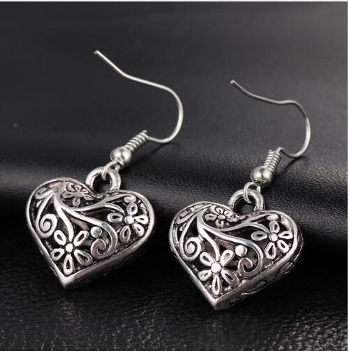 New Tibetan Antique Hollow Heart Drop Earring for Women Jewellery Flower Dangle Earing silver one size