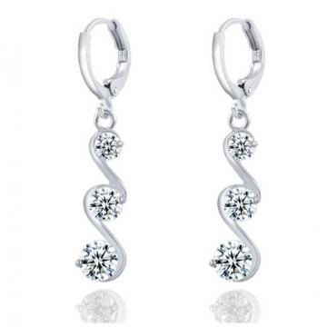 Charming Crystal S shape Long Earrings For Women Zircon Earrings Christmas Gift Jewellery Accessory silver one size