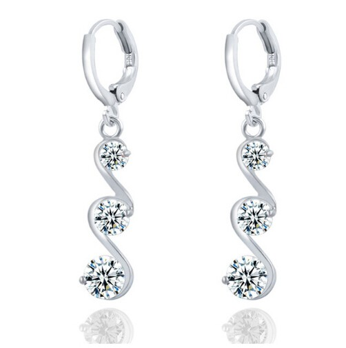 Charming Crystal S shape Long Earrings For Women Zircon Earrings Christmas Gift Jewellery Accessory silver one size
