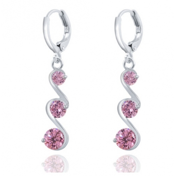 Charming Crystal S shape Long Earrings For Women Zircon Earrings Christmas Gift Jewellery Accessory pink one size