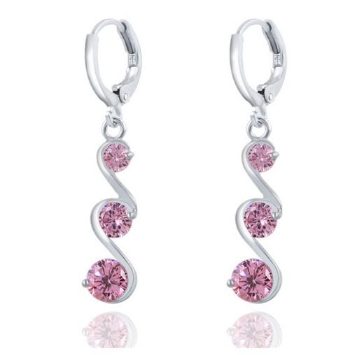 Charming Crystal S shape Long Earrings For Women Zircon Earrings Christmas Gift Jewellery Accessory pink one size