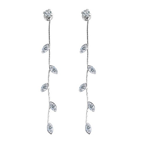 Crystal Drop Earrings for Women Punk Leaf Tassel Earrings Gift Wedding Earrings Jewellery silver one size