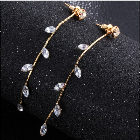Crystal Drop Earrings for Women Punk Leaf Tassel Earrings Gift Wedding Earrings Jewellery gold one size