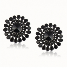 Charm Simple Water Drop Resin Stud Earrings For Women Black Round Earrings Statement Accessory black one size
