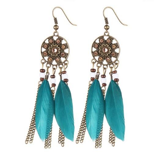 Bohemia Vintage Women Dream Catcher Feather Drop Earrings Tassel Bead Tibetan Earrings Pendiente blue one size