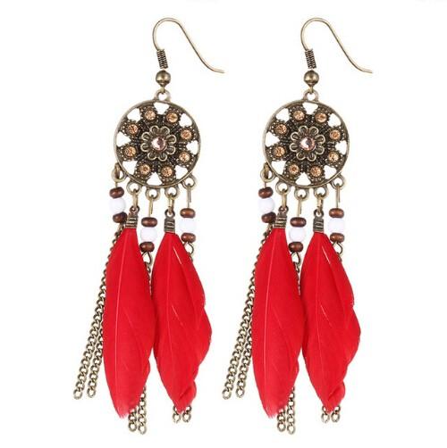 Bohemia Vintage Women Dream Catcher Feather Drop Earrings Tassel Bead Tibetan Earrings Pendiente red one size