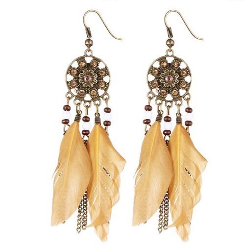 Bohemia Vintage Women Dream Catcher Feather Drop Earrings Tassel Bead Tibetan Earrings Pendiente Yellow one size