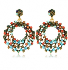 Luxury Romantic Retro Gorgeous Elegant Hollow Brilliant Rhinestone Round Beads Earrings for women mix color one size