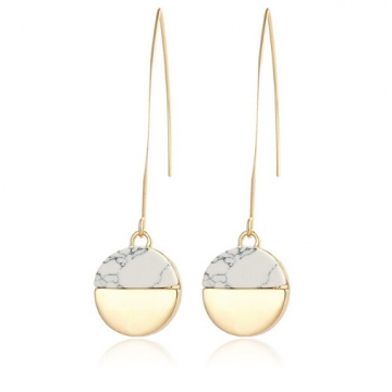 Earrings Geometric Gold Color White Stone Drop Earrings For Women Vintage Indian Long Pendant gold one size