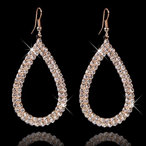 Hot Selling Jewellery Stores Top Quality Fashion Design Big Crystal Water Drop Earings For Women gold one size