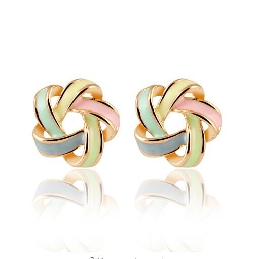 Fashion sweety beautiful women trendy wool earrings Bohemia cross stud Earrings jewelry for women gold one size