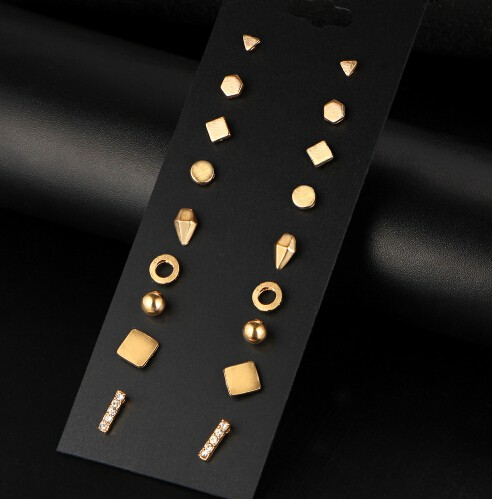 New 9 Pairs/set Brincos Geometric Crystal Stud Earrings Piercing Earring For Women Bijoux Jewelry gold one size