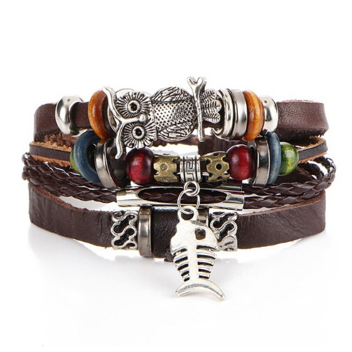 Turkish Evil Eye Bracelets For Women Men Wristband Female Leather Bracelet Synthetic Stone Jewelry photo color 2 one size