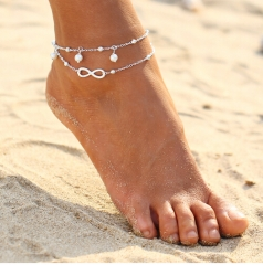 Vintage Antique Anklet Women Big Blue Stone Beads Bohemian Ankle Bracelet cheville Boho Foot Jewelry silver Anklet *1