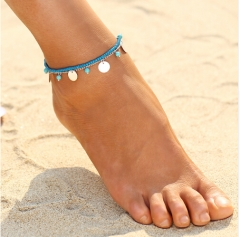 Vintage Antique Anklet Women White Stone Beads Bohemian Ankle Bracelet cheville Boho Foot Jewellery silver anklet *1