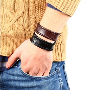 Fashion Vintage Men Bracelet jewelry Wide leather strap with Button Bracelet Bangle for women black one size