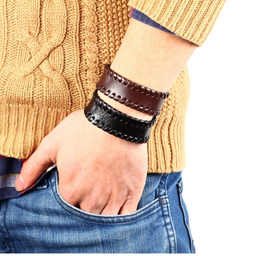 Fashion Vintage Men Bracelet jewelry Wide leather strap with Button Bracelet Bangle for women black one size