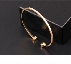 Classic Geometric Round Alloy Bangle Simplicity Adjustable Design Bracelet Jewellery Open Women gold Bracelet *1