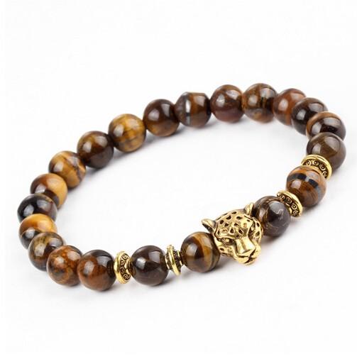 IFeel Leopard Head Bead Buddha Bracelet Natural Stone Lava Matte Tiger Eye Men and Women Bracelets gold bracelet *1
