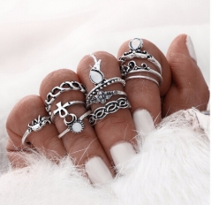 IFeel10pcs/Set Flower Midi Ring Sets for Women Boho Beach Vintage Turkish Punk Elephant Knuckle Ring silver one size