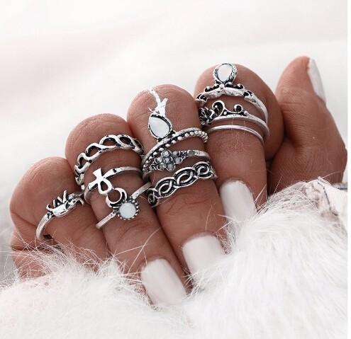 IFeel10pcs/Set Flower Midi Ring Sets for Women Boho Beach Vintage Turkish Punk Elephant Knuckle Ring silver one size