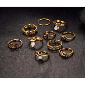 IFeel10pcs/Set Flower Midi Ring Sets for Women Boho Beach Vintage Turkish Punk Elephant Knuckle Ring gold one size