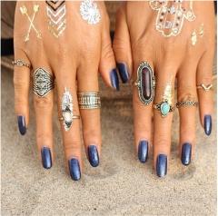 8pcs/Set Midi ring Sets for Women Boho Beach Vintage Tibetan Turkish Crystal Flower Knuckle Rings Silver 1 rings*1