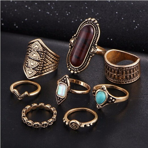 8pcs/Set Midi ring Sets for Women Boho Beach Vintage Tibetan Turkish Crystal Flower Knuckle Rings Gold one size