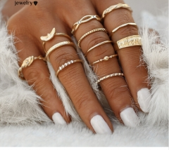 12 pc/set Charm Midi Finger Ring for Women Punk Boho Knuckle Party Rings Jewelry Gift for Girl Gold rings*6