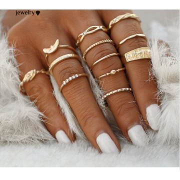12 pc/set Charm Midi Finger Ring for Women Punk Boho Knuckle Party Rings Jewelry Gift for Girl Gold One size