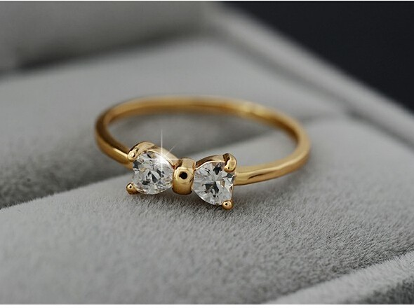 Crystal rings Gold Color finger Bow ring wedding engagement Zircon Crystal Rings women jewellery gold 8