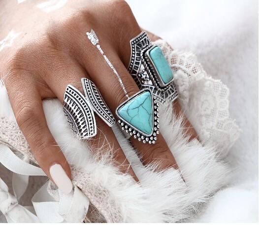 3pcs/Set Boho Vintage Punk Stone Midi Finger Rings For Women /Men Bohemian Ring Set Jewelry Anillos silver one size