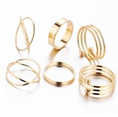 IFeel Hot Unique Ring Set Punk Gold Color Knuckle Rings for women Finger Ring 6 PCS Ring Set gold rings*1