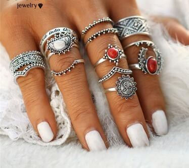 14Pcs Moon And Sun Midi Female Ring Sets for Women New Red Big Stone Knuckle Rings Gift silver one size