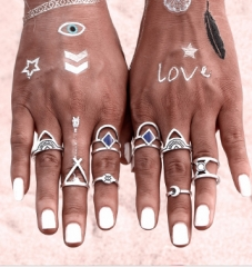 Ring Set Punk Bohemian Midi Rings for Women Tibetan Anillos Ring Knuckle Rings for Women Anel silver rings*1