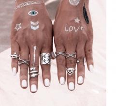 Vintage Bohemian Style Vintage Antir Rings for Women Tibetan Infinity Arrow Punk Boho Rings Set silver rings*1