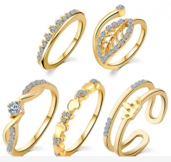 Heart Ring Set Brand Crown Crystal Ring anillos anel Engagement midi Rings for Women anillo Dropship gold rings*1
