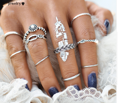Set Punk Silver Color Infinity Rings For Women/Men Bead Finger Gold Color Bohemian Punk Midi Ring silver one size