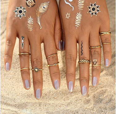 Set Punk Silver Color Infinity Rings For Women/Men Bead Finger Gold Color Bohemian Punk Midi Ring gold one size