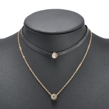 New Arrival Trendy Leather Choker Jewellery with Crystal Charm Layer Necklaces & Pendants for Women gold 43+5cm