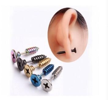 IFeel 2017 Stainless Steel Stud Earrings Men's Punk Ear Jewelry Rock Gothic Unisex Piercing Earring black one size