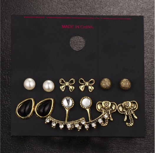 6 pairs/sets Elephant Earrings Set Black Water Stud Earrings For Women Vintage Jewellery Gift gold one size