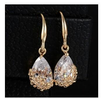 Classic Romantic Crystal Drop Earrings Anniversary long Dangle earrings Jewellery for women gold one size