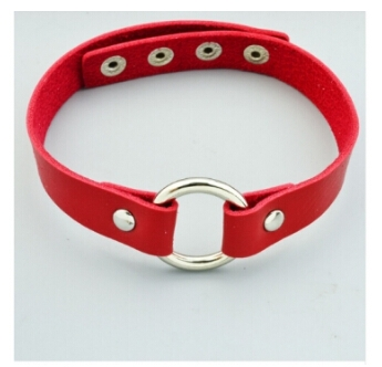 IFeel Fashion jewellery round leather choker necklace gift for women girl red one size