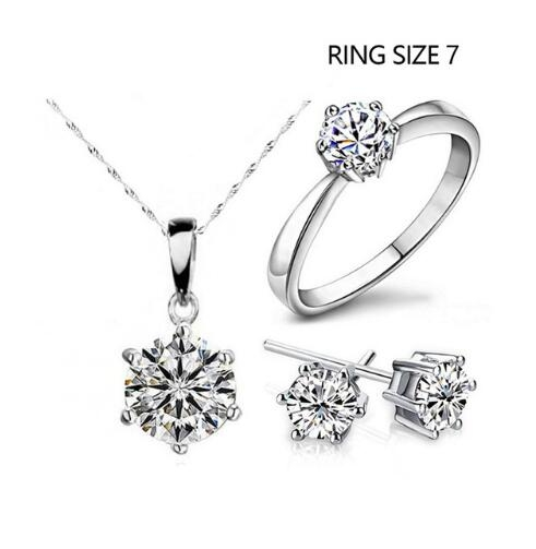 IFeel-4 Piece/set Hot Sale Fashion Jewelry Cubic Zircon Statement Necklace & Earrings Rings 7 As Picture