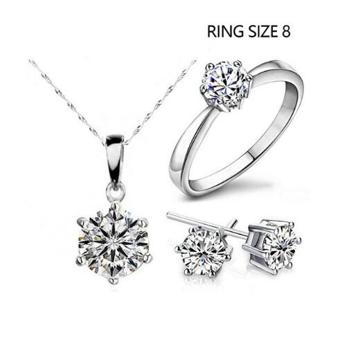 IFeel-4 Piece/set Hot Sale Fashion Jewelry Cubic Zircon Statement Necklace & Earrings Rings 8 As Picture