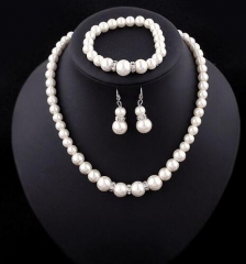 IFeel-4 Piece/set Fashion Classic Imitation Pearl Silver Plated Clear Crystal Top Elegant Party Gift white as picture