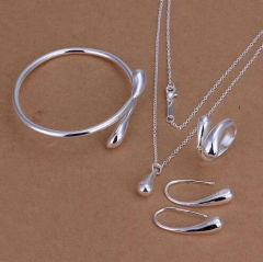 IFeel-5 Piece/set plated drop jewelry sets necklace bracelet bangle earring ring Silver As Picture